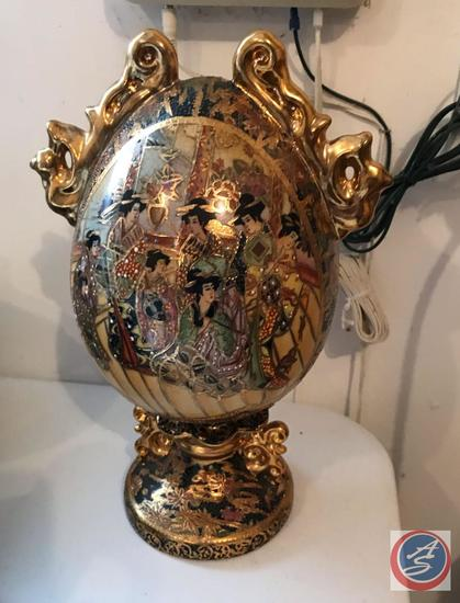 Cloisonne Decorative Oriental Egg on a Stand and a Painted Egg