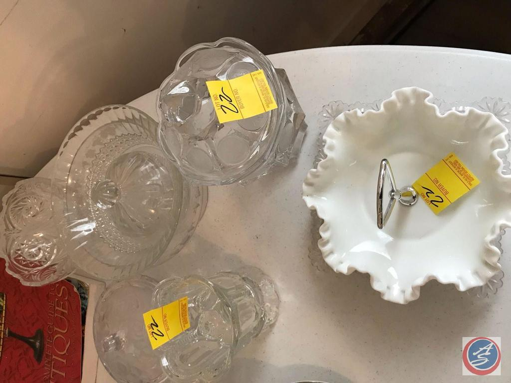 Fenton Candy Dish, Pressed Glass Brides Basket, Square Plate, and a Decorated Candy Dish and