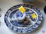 Stack of Royal Copenhagen (9) Salt Dishes, Wedge Wood Bread Plate, (2) Churchill Bone China Soup