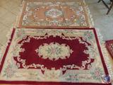 (2) Sculptured Wool Fringed ASian Designed Floor Rugs; Mauve 42 x 60 in, Maroon 44 x 68 in.