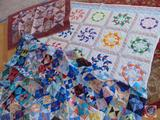 Hand Sewn Quilt Top (Unfinished), Quilted Wall Decor or Baby Blanket, Pineapple Design