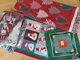 (2) Christmas Cotton Throws, and (2) Wall Hanging Quilted Christmas Decor Pieces