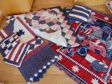 Red White and Blue Quilt, and (2) Pillow Shams, Patriotic Afghan, and Goodwin Weavers Cotton Fringe