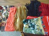 (6) Scarves, Designs are Poppies, Orange, and Brown, One Animal Print, Another Red, and One Black