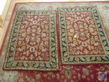 (2) Kingsley House Dense Wool Maroon Area Rugs 3 x 4.5'' Made in India