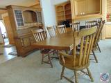 {{2x$Bid}} Wood Dining Table (42 x 66'') w/ (3) 12'' Leaves, (8) Slat-Back Chairs (Two are Captain
