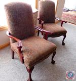 (2) Upholstered Chairs w/ Wooden Arms, Metallic Gray and Brown