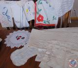 Vintage Embroidered Linens and Hand Towels, and (2) Small Half Aprons
