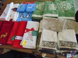 Selection of Embroidered Holiday Hand Towels and Dish Towels