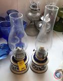 Pair of Oil Lamps, Pottery Bases w/ Two Different Sized Chimneys