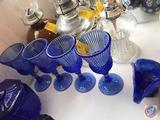 (4) Blue Avon Glasses, Small Candy Dish