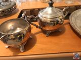 Sewing Table, (3) Pieces of Silver Plate, William Rogers 171, POLLE Silver Company Biscuit Bowl, and
