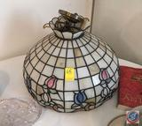 Stained 'Glass' Hanging Lamp, Resin Shade has Some Minor Damage. Approximately 18 in. Diameter