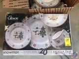 Gibson 'Snowman' Dinner Service for Eight, in (2) Boxes