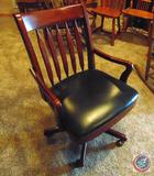 Cherry Wood and Leather Rolling Office Desk Chair w/ Arms
