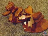 (2) Wooden Bow Designed Quilt Wall Hooks