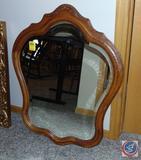 Multi-Curved Mirror in Oak Frame, 33 x 27 in.