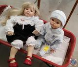 1996 Doll Set, w/ Ceramic Faces Hands and Feet. Boy Doll is Missing a Hand