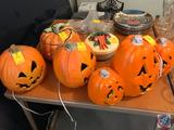Thanksgiving Pumpkin Soup Tureen, a Covered Relish Dish, and (3) Lighted Halloween Pumpkins, and