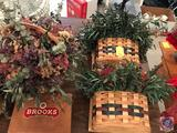 (15) Variety Baskets, a Wooden Cigar Box and Dried Floral Decor