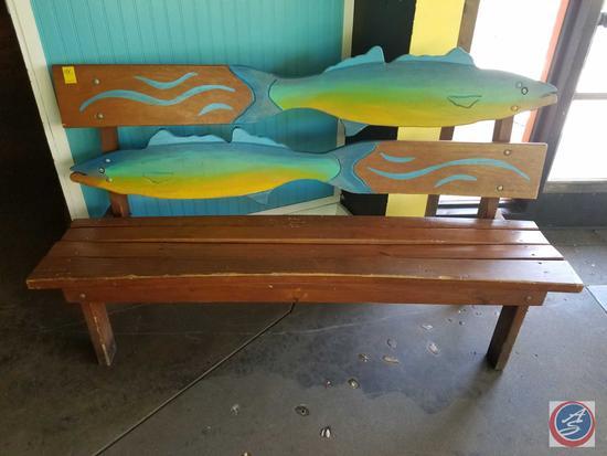 "Fish Wooden Bench 66"" x 21"" x 39"""