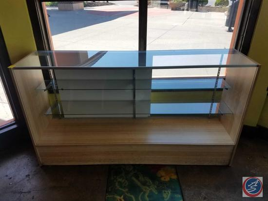 """Wood and Glass Display Case with Two Glass Adjustable Shelves and Sliding Doors Measuring 70"""" x 17"""