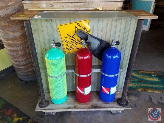 """Hostess Podium Adorned With Scuba Tanks and Fin 42"""" x 25"""" x 45 1/2"""""""