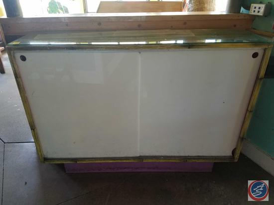 """Wooden Storage Case with Sliding Doors and Glass Overlay 60"""" x 16"""" x 42"""""""