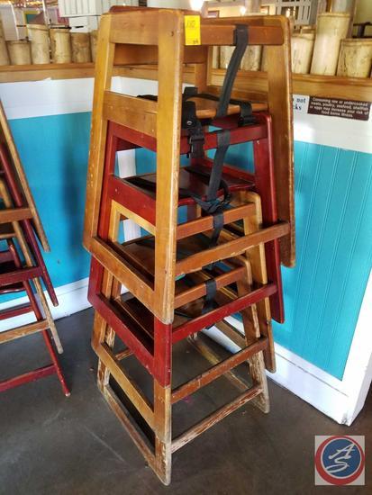 {{4X$BID}} (4) Wooden Restaurant High Chairs