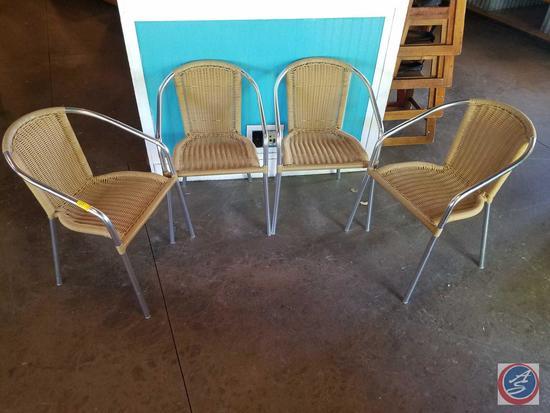 {{4X$BID}} (4) Tan Rattan Indoor-Outdoor Restaurant Stack Chairs