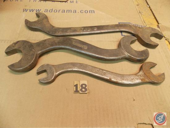 (3) large Serpentine Wrenches including 16 in. marked 883c - 14 in. IH 83866 - 12 in. U.P.R.R