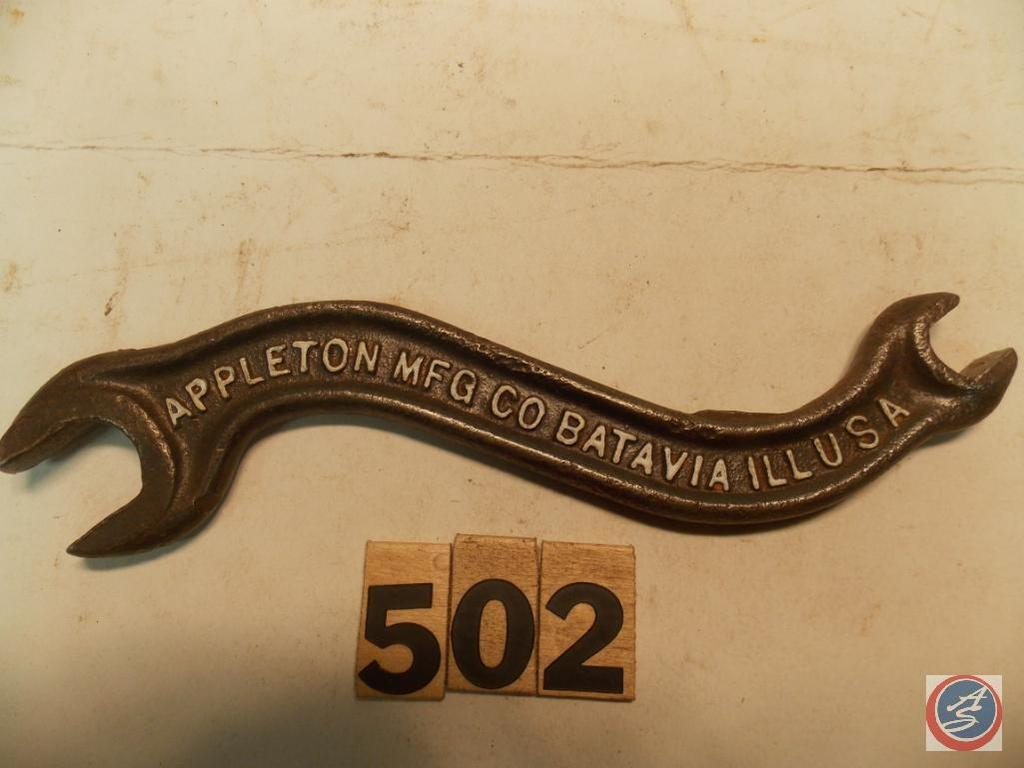 Implement Wrench 8 In Marked Appleton Mfg Co Batavia Ill Usa C819 Art Antiques Collectibles Antiques Antique Tools Auctions Online Proxibid