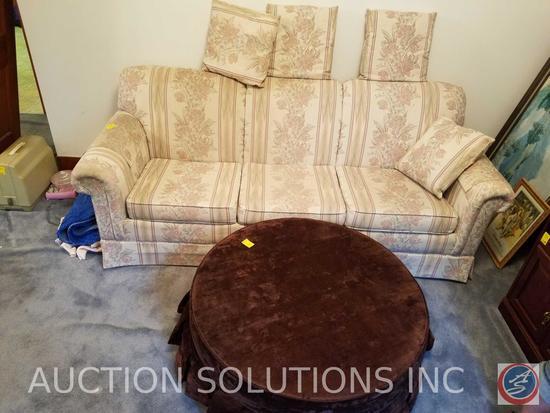 """Grand Haven By Flex Steel Couch 79"""" x 36"""" x 33"""", Hidden Trampoline Ottoman 39"""" x 16"""""""
