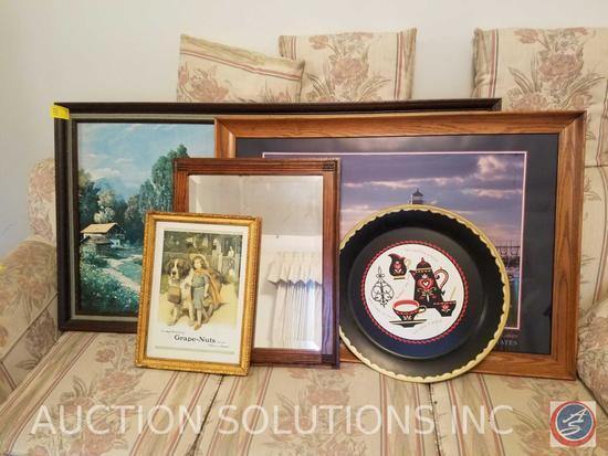 (2) Framed Wall Mirrors, Tin Kaffee Klatch Wall Hanging, Framed Vintage Grape Nuts Print, Framed