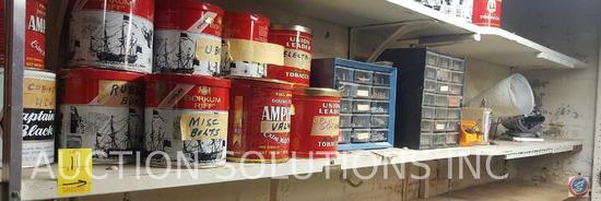 Assortment of Borkum Riff, Douwe Egberts, Union Leader Tobacco Tins Filled with Assorted Hardware