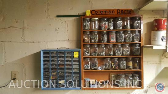 Plastic Drawer Set Filled with Assorted Hardware, Wooden Coleman Parts Shelve Filled with Assorted