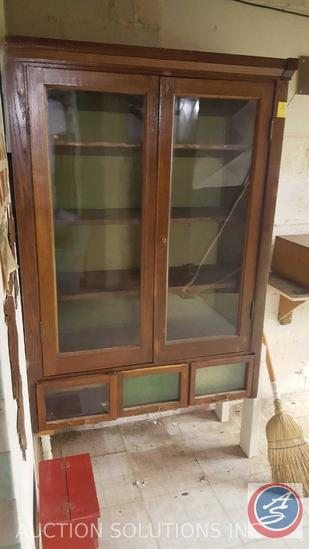 """Antique Hutch with Glass Doors and (3) Drawers with Glass Window 38 1/2"""" x 17"""" x 67 1/2"""""""
