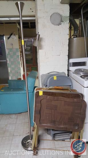 (5) Metal Folding Chairs, Complete Vintage Metal TV Tray Set with Stand, Floor Lamp