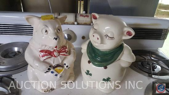 Set of (2) 3 Little Pigs Cookie Jars from Approximately 1960; Wolf and Pig
