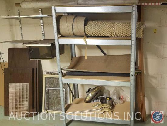"""Four Tier Composite Wood/Metal Shelving 36"""" x 19"""" x 59 1/2"""", Carpet Remnant, Ceiling Fan Parts"""