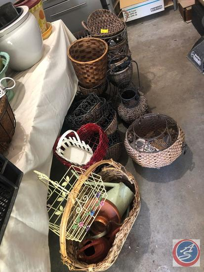 Large Collection of Baskets Including Wire, Wicker, More