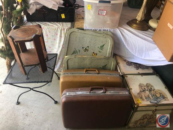 (2) Vintage Samsonite Hard Shell Suitcases, Vintage Metal TV Tray Set, Puppies Hinged Trunk, Bear