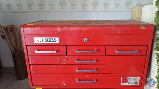 "REM Tool Box {{NO KEY}} {{CONTENTS INCLUDED}} 26"" x 12"" x 15"""