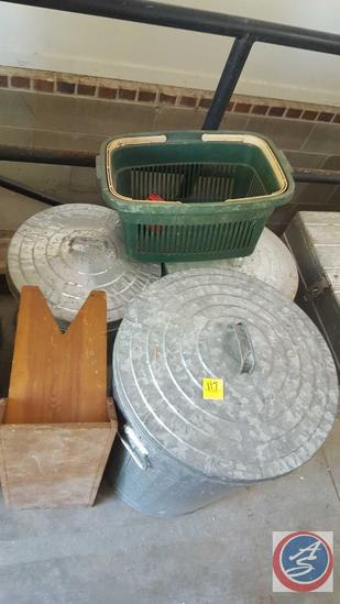 (3) Metal Garbage Cans, Framed Art, Basket with Handle