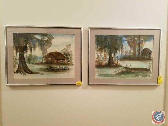 Framed Water Color Paintings Signed Miriam Ragan, Framed Oil Painting Signed {{ILLEGIBLE}}