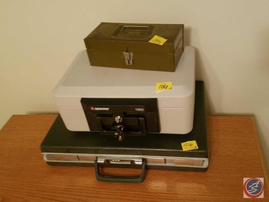 Sentry 1900 Safe with (2) Keys, Samsonite Locking Briefcase {{NO COMBINATION}}, Metal Lock Box {{NO