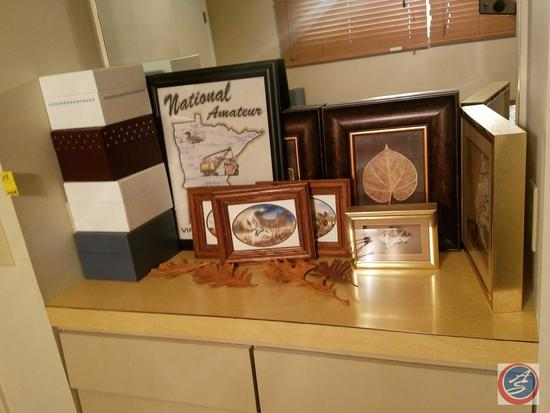Framed Sea Shell Shadowbox Wall Hanging, National Amateur Framed Wall Hanging, (4) Hinged Lid Boxes,