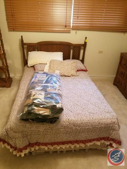 Full Size Bed with Rails, Head Board, Box Spring, Mattress, Bedding, Full Size Bird Dog Comforter