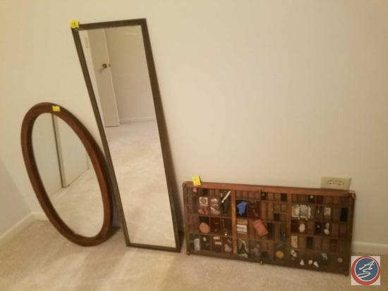 Class Covered Memories Shadow Box, Full Length Closet Mirror, Oval Wood Framed Mirror