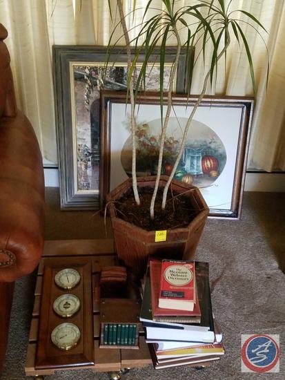 "(4) Rolling Plant Stands, Plant, Barometer, 3 Volume ""The Gunfighters"", (2) Coaster Sets, Framed Oil"